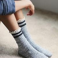 Free People Womens Rugby Ruffle Ankle Sock - Navy, One