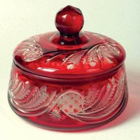 Victorian trading Co. Ruby Glass Covered Bowl