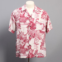 40s Rayon HAWAIIAN SHIRT / KILOHANA Burgundy & White Photo Print, m