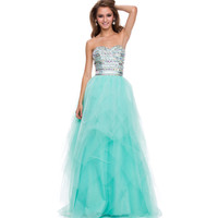 (PRE-ORDER) 2014 Prom Dresses - Mint Green Tulle & AB Stone Strapless Gown