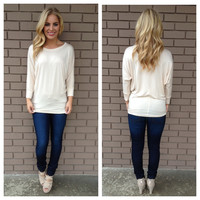 Cream 3/4 Sleeve Modal Top