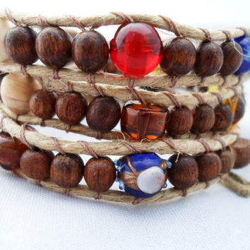 Wood Beaded Hemp Wrap Bracelet Wooden Button