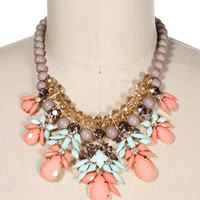 GrMtPe Stone Drop Statement Necklace