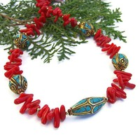 Tibetan Turquoise Beads Red Coral Handmade Necklace Ethnic Jewelry | ShadowDogDesigns - Jewelry on ArtFire