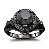 14k Gold 2 1/2ct TDW Certified Black Diamond Ring