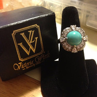 Victoria Wieck Turquoise Ring Size 8 NIB New CZ Sterling Silver 925 VW Signed Natural Genuine Blue Vintage Jewelry Southwestern Modern Gift