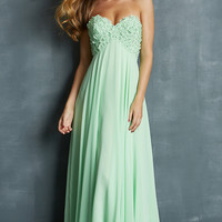 Long Strapless Empire Waist Gown