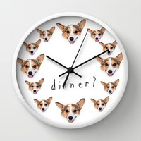 Dinner yet? Wall Clock by Geordi the corgi