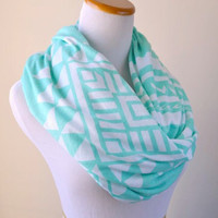 Tiffany Aztec infinity Scarf, soft cotton jersey knit