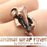 Realistic Elephant Animal Ring for Men and Women Copper Sizes 4 to 15