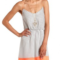NEON TRIM STRIPED CHIFFON DRESS