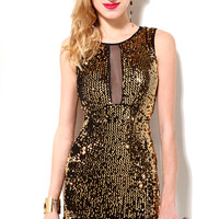Sequin Mesh Insert Dress in Gold