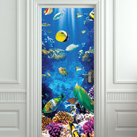 "Door STICKER aquarium fish sea world mural decole film self-adhesive poster 30x79""(77x200 cm) /"