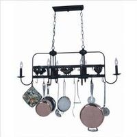 Pot Racks Six Light Kitchen Island Lighted Hanging Pot Rack in Black