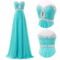 2014 New Arrival Bead Long Formal Wedding Gown Evening Prom Cocktail Party Dress