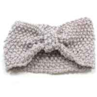 Crochet Flower Bow Knitted Headwrap Headband Ear Warmer Hair Muffs Band Winter (Beige)