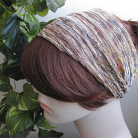 Copper and Gold Tones Striped Turban Wrap Headband, Women's Wide Head Wrap, Turband, Hair Accessories