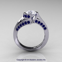 Modern French 14K White Gold 1.0 Ct White Sapphire Blue Sapphire Engagement Ring Wedding Ring R376-14KWGBSWS