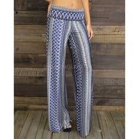 Busy Bohemian Blue Tribal Palazzo Pants