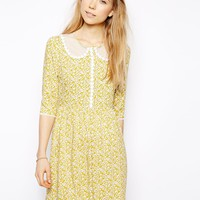 Little White Lies Ditsy Daisy Skater Dress With Mesh Collar -