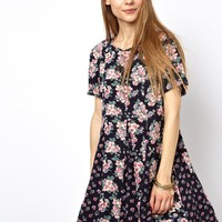 ASOS Skater Dress In Mixed Floral Print
