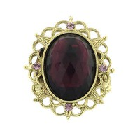 Brass Multifaceted Cabochon Amethyst Ring