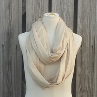 Metallic Gold and Camel Infinity Scarf - Tan Eternity Scarf - Lurex - Circle of Love