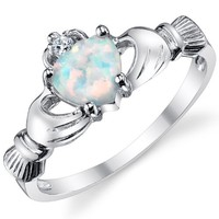 Stelring Silver 925 Irish Claddagh Friendship & Love Ring with Opal Heart Sizes 3 to 10