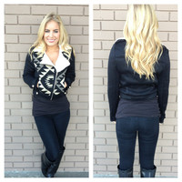 Black & Cream Aztec Fuzzy Warm Crop Jacket