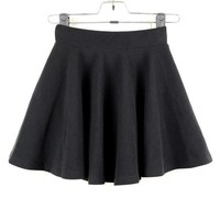 2013 New Fashion Women Lady Girl Retro High Waist Flared Short Pleated Mini Skirt (COLOR : BLACK)