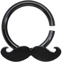 14 Gauge Black Mustache Horseshoe Septum Ring | Body Candy Body Jewelry
