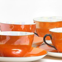 Vintage Orange Tea Cup Set of 6 Orange White Black by GlassnMore