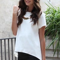 White Short Sleeve Hi-Low Hem Top