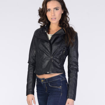 Faux Leather Biker Jacket - Outerwear - Clothing