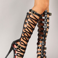 Xena Strappy Gladiator Knee High Stiletto Platform Heel