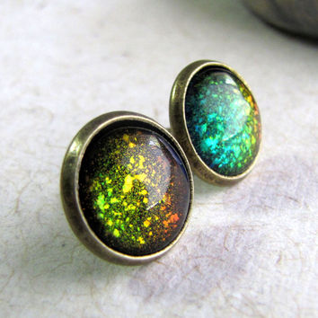 Supernova Post Earrings  Color Explosion Glitter by AshleySpatula