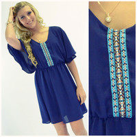 Sea Breeze Navy Embroidered Flutter Sleeve Dress