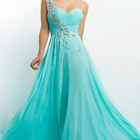 Long One Shoulder Sweetheart Gown by Blush