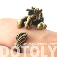 3D Unicorn Horse Animal Hug Wrap Ring in Bronze - Sizes 5 to 9