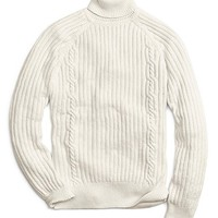 Men's Chunky Cable Knit Turtleneck