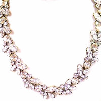 New J. Crew Inspired Vintage Style Sparkle Crystal Floral Vine Leaf Statement Collar Bib Necklace Bling Bauble Bridal Classic