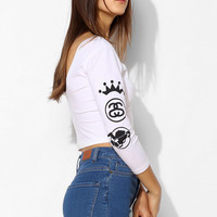 Stussy Logo Fitted 3/4-Sleeve Cropped Tee - Urban Outfitters