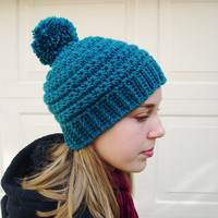 Teal Pom pom hat, Winter Fashion 2014, cozy hat, Teal Fashion hat, trends fashion hat, warm hat