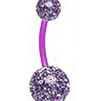 Flexible Purple Glitter Double Ball Navel Ring Belly Button Piercing Jewelry