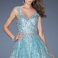 Short V-Neck Sequin Dress by La Femme