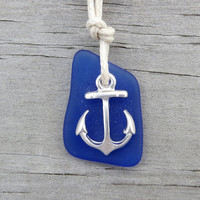 Blue Sea Glass Anchor Nautical Necklace by WaveofLife