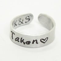 Taken ring heart ring with initials - Relationship ring Promise ring Commitment ring - Valentines gift girlfriend ring boyfriend ring