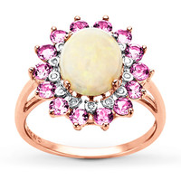 Lab-Created Opal Ring Lab-Created Sapphires 10K Rose Gold