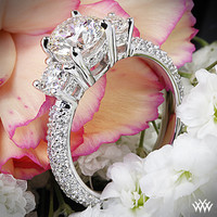 "18k White Gold ""Rounded Pave"" 3 Stone Engagement Ring"