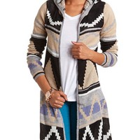 HOODED AZTEC OPEN CARDIGAN